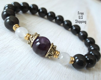 Clarity, Obsidian, Amethyst, Moonstone, gemstone bracelet, Healing, Yoga Bracelet, Meditation bracelet, Reiki, mala, Moonstone bracelet