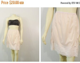 SALE Vintage Slip 60s Pink and White Lace Pink Flowers Half Slip 1/2 Slip