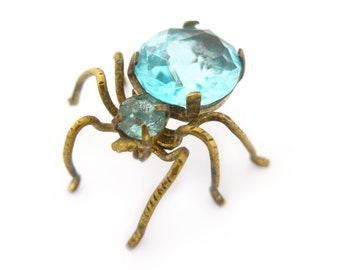 Vintage Art Deco Blue Glass Spider Brooch