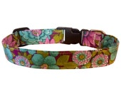 Spring Floral Turquoise Violet dog cat pet puppy collar xs sm med lg xl custom made