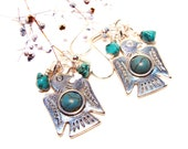Southwestern/Native American Silver-toned Thunderbird Earrings with Turquoise Accents