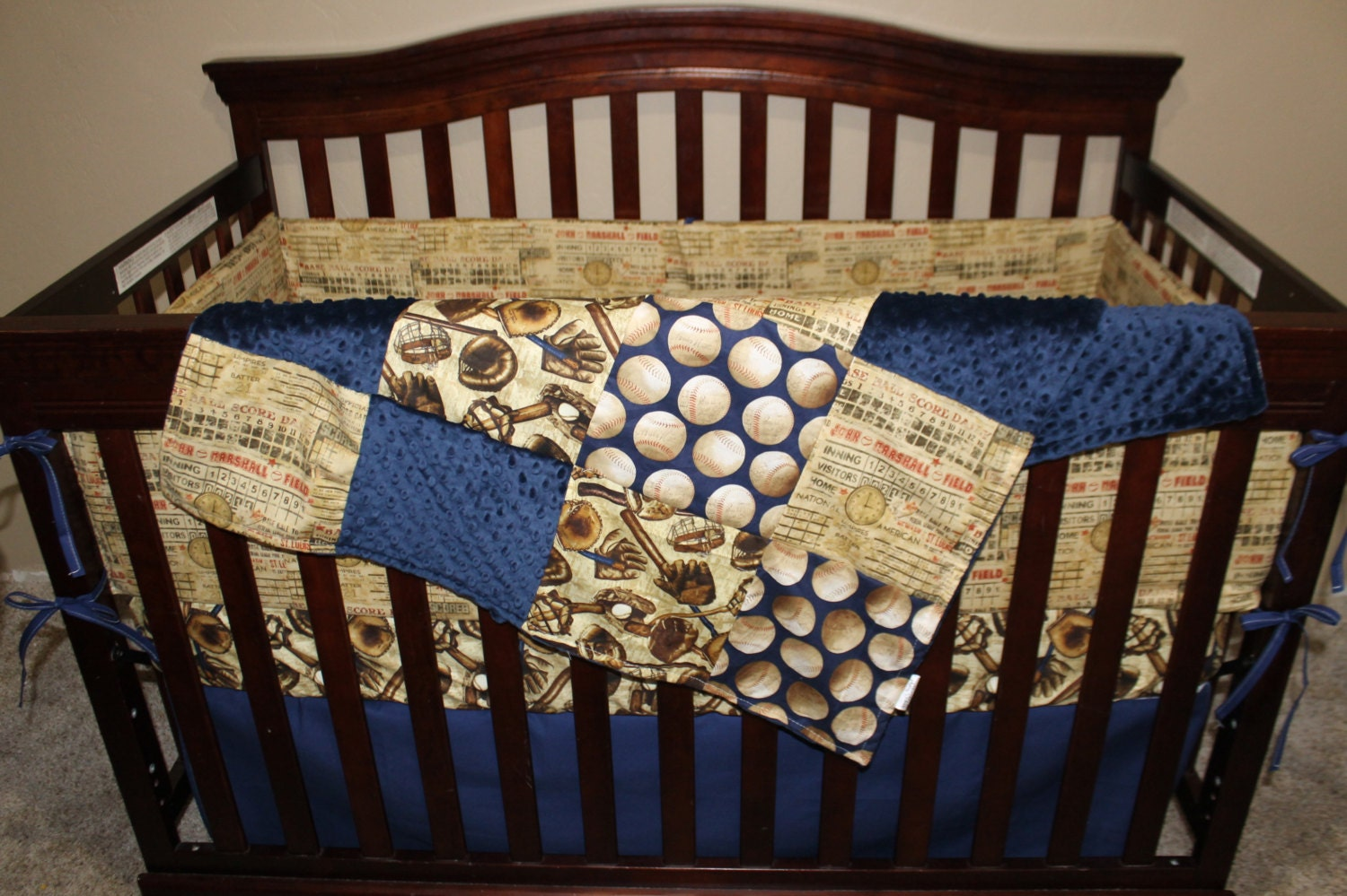 Baby Boy Crib Bedding Who S On First Vintage Navy