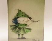 Watercolor Art, Witch, Original art, Halloween Art, Gift for Sister, resin, ink, Button Art, 4 x 5, Home Wall Art, Little sister