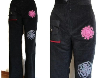 upcycled pants, recycled bottom, black corduroy, Black Corduroy Pants, Girls black corduroy pants with front knee and crochet flover details