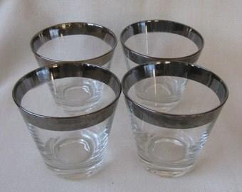 Vintage Silver Rimmed Glasses Set of 4