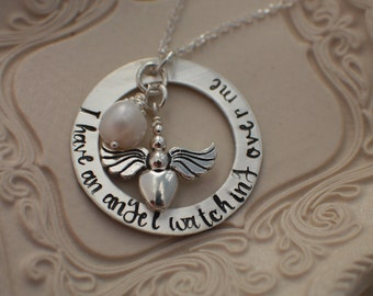 Memorial Necklace - I have an angel watching over me - His name is Daddy - Hand Stamped Remembrance Jewelry - Loss Jewelry - Angel Jewelry