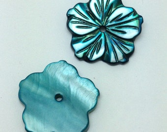 Green Shell Flower Shaped Buttons -FLR0011G