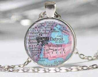 Detroit Necklace  Map Jewelry Genealogy Necklace Home Necklace Detroit Jewelry Detroit  Keychain Map Necklace