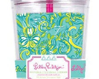Delta Delta Delta Lilly Pulitzer Tumbler Tri Delt Cup with Straw Monogram Authentic Retired Lilly Pattern
