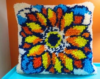 Vintage 1970s Retro Groovy Flower Power Crewel Latch Hook Art Shag MOD Throw Pillow