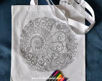 Spiral Mandala - Colouring In Tote Bag - Fairtrade Cotton - Coloring in Shopper