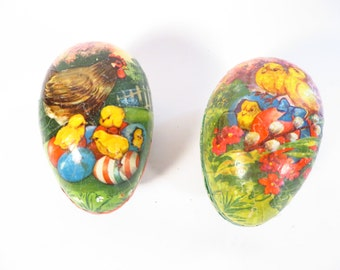 Set of 2 Vintage German Cardboard Easter Eggs - Western Germany Paper Mache Easter Candy Container