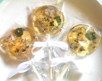 ORGANIC FLOWERED LOLLIPOPS, Lemonade, Mint Leaf, Bachelor Buttons,Pansies, Gift Box, Vegan, Birthday Gift