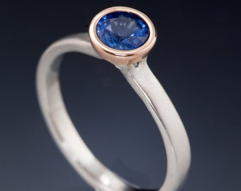 Chatham Blue Sapphire Rose Gold Bezel Solitaire Engagement Ring, narrow Band in Palladium, Platinum or White Gold, Modern Mixed Metal Ring