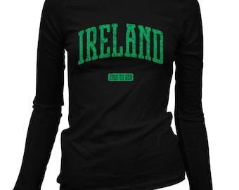 Women's Ireland Long Sleeve Tee - S M L XL 2x - Ladies' Ireland T-shirt, Eire, Irish, Dublin, Galway, Cork, Limerick - 3 Colors