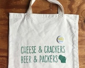 Wisconsin Motto Tote Bag with Pin - Cheesehead, Green Bay Packers, Beer