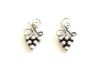 2PCS  Bali sterling silver Grapes on vine charm beads