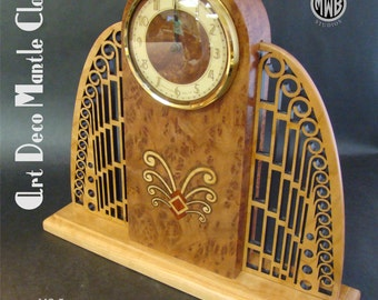 Inlaid Art Deco Mantle Clock with Pierced Wings.  MC-5      Free Shipping.