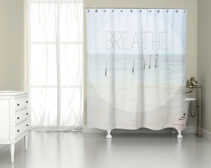 Ocean Inspirational Quote Shower Curtain for Bathroom Beach Decor