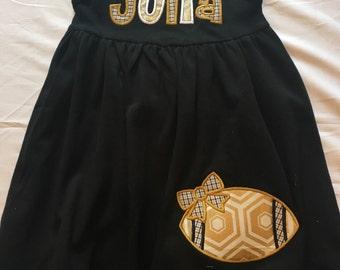Personalized New Orleans Saints Applique  Sleeveless Monag Empire Waist Dress