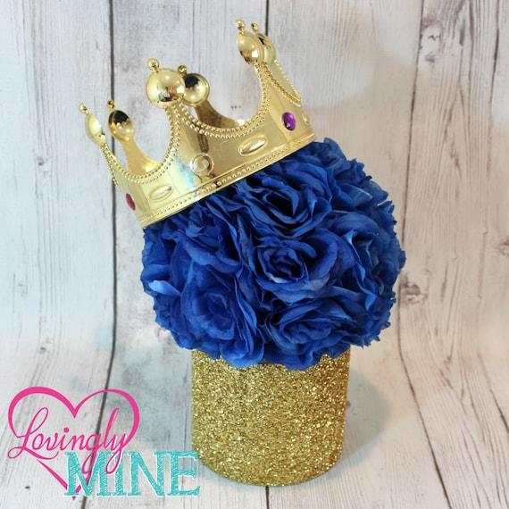 Prince Glitter Gold & Royal Blue Centerpiece Royal Blue Faux