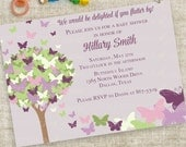 Purple Butterfly Baby Shower Invitation Personalized Custom Digital Printable File with Professional Printing Option