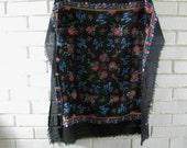 Vintage square black floral rayon scarf