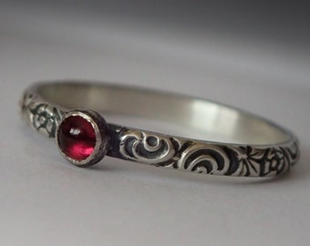 Garnet Ring, Sterling Silver Floral Pattern Band with 3mm Garnet, Garnet Ring Silver, January Birthstone Jewelry, January Birthstone Ring