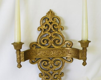Vintage Gold Wall Hanging Sconce - Syroco Dart Industries 1960's Decor - Scroll Design Double Wall Sconce, Hollywood Regency Decor