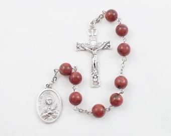 Saint Genesius Chaplet, Red Stone Beads, Patron Saint of Actors and Torture Victims - Catholic Chaplet Prayer Beads