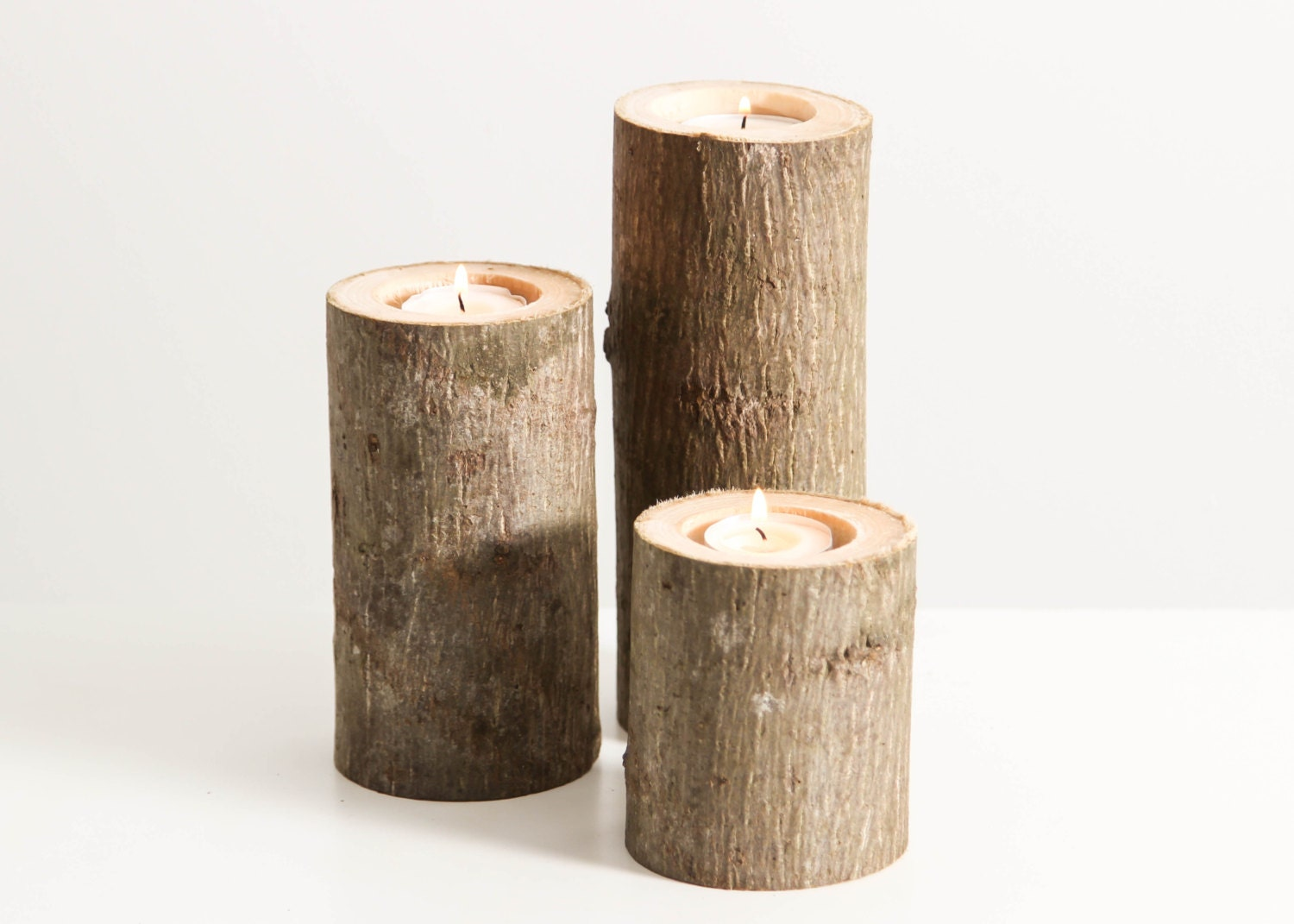 Tree branch candle holders set of 3 heights rustic wood Wood candle holders