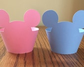 24 Mickey Mouse Cupcake Wrappers - Cardstock (Baby Blue, Baby Pink) (Disney, Cartoon, Minnie and Mickey, Mickey Ears, Mouse Ears, Bday)