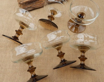 6 Champagne Coupe Brown Stemmed Glasses