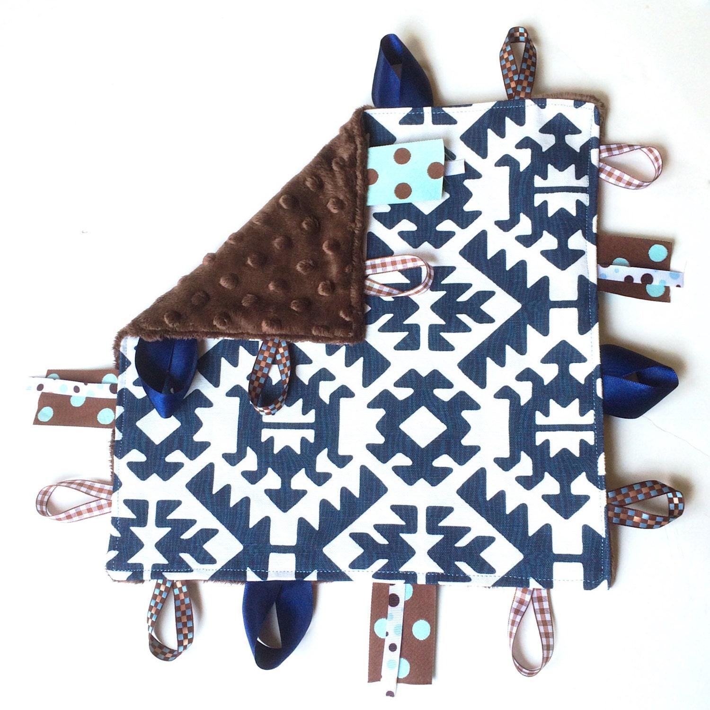 Navy Aztec Baby Boy Toy Tag Lovey Security Sensory Blanket