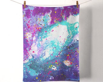 Stardust Purple & Blue Tea Towel - Purple, Teal, Turquoise, and Navy Blue Colourful Flour Sack Cotton Duck Tea Towel