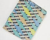 Vintage 1940s 1950s Geometric Novelty Print Fabric - Bulk - Yardage - Aqua Teal Seafoam Turquoise Yellow