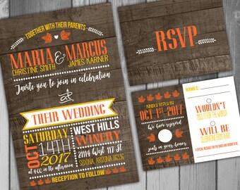 Wedding Invitation Rustic Wedding Rustic Invitation Wood Wedding Printable Wedding Fall Wedding Leaf Invitation Fall Invitation Country