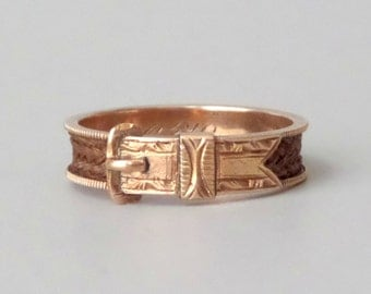 Antique Victorian Buckle Ring. 14k Rose Gold. Plaited Hair. Size 7.5