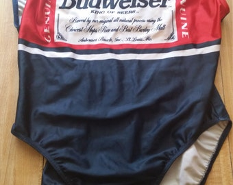 Budweiser Beer Vintage Beach One Piece Swimsuit Size 13/14