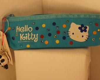 Blue Hello Kitty Rhinestone Pencil Pouch Bag