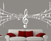 White wall decal music notes, music wall decal, wall decal music, notes decal, song wall decal
