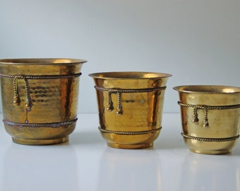 Set of 3 vintage brass plant container