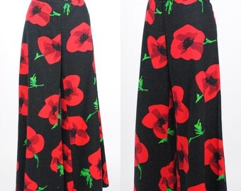 Vintage 1990's Moschino Pop Art Poppy Print Wide Leg Pants / Size 12