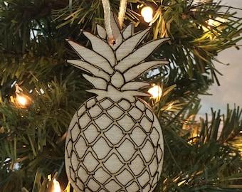 Pineapple Christmas Ornament, Coastal Christmas Ornament, Christmas Ornament Gift, wood ornament, Pineapple Christmas, Beach Christmas
