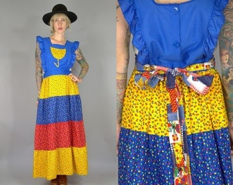 70s Folk Dress Tulip Pocket Red /Blue / Yellow Country Western Picnic Prairie Apron Dress