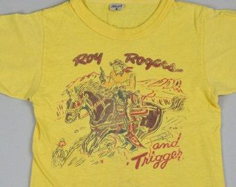 50s Roy Rogers and Trigger Souvenir Kids Cotton T Shirt