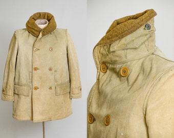 1930s WWll Barnstormer Jeep Coat Mackinaw Jacket Chin Strap Military Wool Lined Jacket