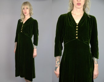 1930s Moss Green Liquid Velvet with Gold Basket Weave Button Down Dress