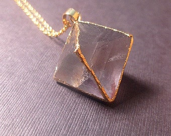 Fluorite Octahedron Necklace - Geometric -Crystal Necklace - Gemstone Jewelry - Custom Length - Christmas Gift