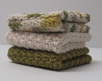 Cotton Crochet Washcloths Dishcloths - set of 3 -